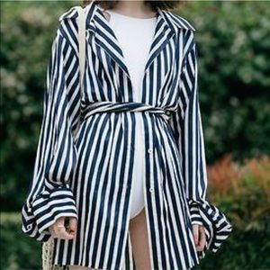 Zara Woman Striped Blouse/Coat NEVER WORN